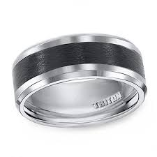previously owned triton men s 9 0mm comfort fit black ceramic inlay wedding band in