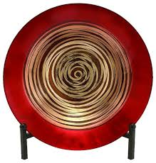 beautiful red glass plate bowl black metal gold art accent decor