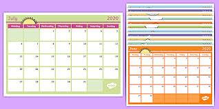 Mini Academic Calendar Tabs 2019 2020