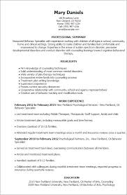 Resume Templates: Behavior Specialist