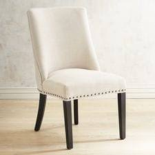 black wood dining chair. Corinne Linen Dining Chair With Black Espresso Wood