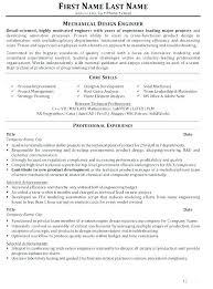 Mechanical Engineer Resume Template Mechanical Engineering