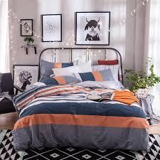 gray orange navy blue and white stripe duvet cover sets queen size cotton