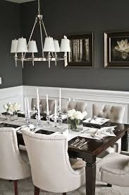 deep grey dining area walls with white wainscoting