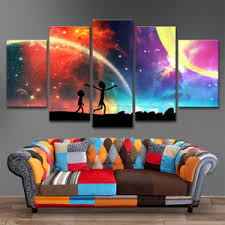 image is loading 5 panel rick and morty printing canvas wall  on customizable canvas wall art with 5 panel rick and morty printing canvas wall art modern hanging home