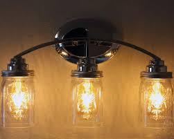 light fixture with three quart open bottom ball mason jars wide mouth lighting lids and led edison bulbs