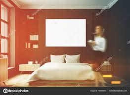 Schlafzimmer Innenraum Frau Front Schwarz Stockfoto