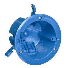 ceiling fan outlet box. carlon 1-gang blue plastic interior old work standard round ceiling electrical box fan outlet w