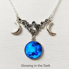 triple moon silver necklace full moon
