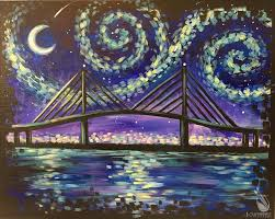 how to paint skyway starry night