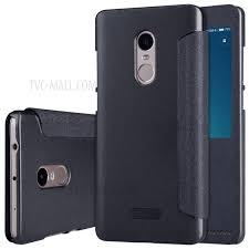 nillkin sparkle series smart view window leather case for xiaomi redmi note 4 black