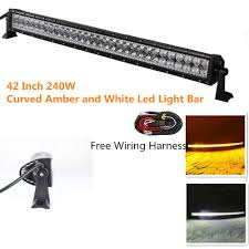 Amber Led Offroad Lights Night Break Light Curved 240w 42inch Free Wiring Harness