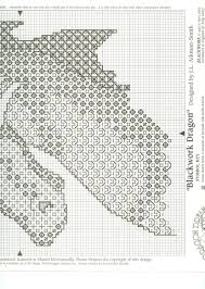 Blackwork Cross Stitch Charts Dragon Counted Needlework Patterns Blackwork Cross
