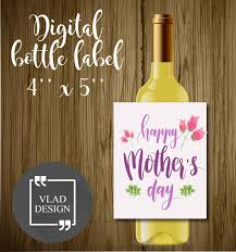 Diy Wine Bottle Labels Watercolor Happy Mothers Day Printable Wine Bottle Label Diy