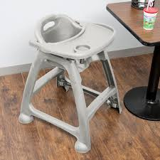 lancaster table seating ready to assemble gray polypropylene stackable restaurant high chair with tray no