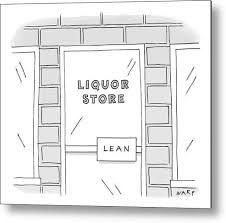liquor metal print featuring the drawing close up view of a liquor with door