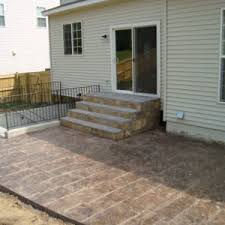 Stamped concrete patio with stairs Red Brick House Stamped Concrete Galleriesmountain View Concrete Within Concrete Patio Steps Majorleagueflipcupcom Patio Chic Concrete Patio Steps For Your Residence Idea