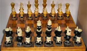 mexican large hand carved wood bone upright chess set in box