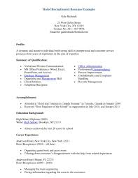 Hotel Receptionist Resume Free Download Vinodomia