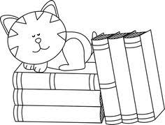 table clipart black and white. black and white cat sleeping on books clip art - image table clipart