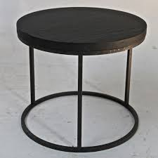 round black oak top side table with cast iron base