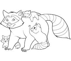 Small Picture Raccoon and Her Childrens Coloring Page Download Print Online