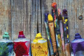 s of oil paint and artist paint brushes closeup