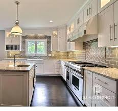 kitchen subway tile with accent gray and white kitchen design with shaker cabinets gray glass subway