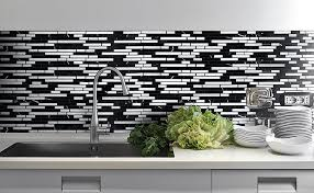 black and white mosaic tile kitchen