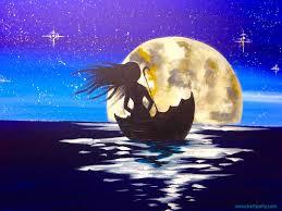 easy beginners acrylic painting girl sailing in umbrella full moon you