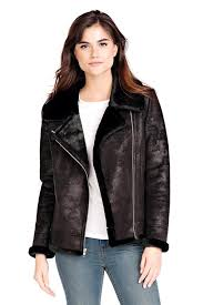 black faux leather faux fur moto jacket