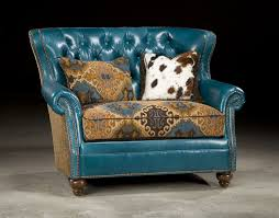 chairs leather upholstered accent tufted turquoise leather chair and a half