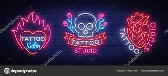 салон татуировки набор векторных логотипов коллекцию неоновые знаки