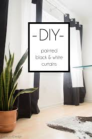 Plain Black And White Curtains Fabric Painted With Design