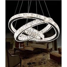 3 ring led modern crystal chandelier ceiling pendant lighting view larger
