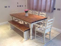 oak dining table and chairs for 8. shabby chic rustic farmhouse solid 8 seater dining table bench and 6 oak chairs for