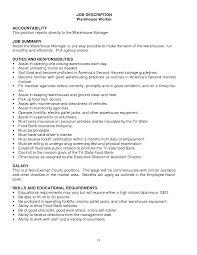 Warehouseman Resume Warehouse Resume Job Description Sugarflesh 17