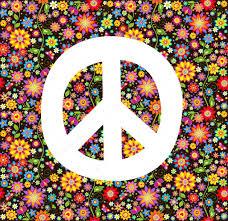 hippie wallpaper with flowers print stock vector