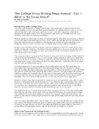 College Essay Examples Impressive Examples Of A Good College Essay Introduction Essay Examples Med