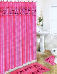 black and pink bathroom accessories. Pink Bathroom Set With Black Circles Shower Curtain Mats Rings 191PINK And Accessories I