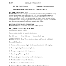 Sample Resume For Forklift Operator Forklift Driver Resume Samples for Otr  Driver Job Description