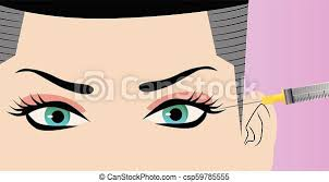 Injecting botulinum toxin in female face. Expert beautician injecting  botulinum toxin in female face. woman in beauty salon   CanStock
