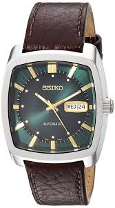 com seiko men s recraft series automatic leather casual watch model snkp27 watches