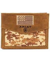 zoomed image ariat men s bi fold american flag wallet camouflage hi res