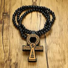 detail feedback questions about men s brown wooden ankh cross pendant with a 35 inch wood beaded necklace male hip hop egyptian jewelry for him key of the