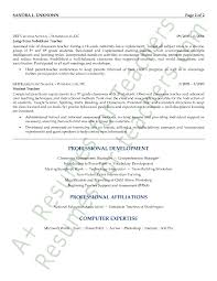 Substitute Teacher Resume Job Description Math Teacher Resume Sample