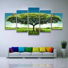 Home Decoration Canvas Painting Big Green Tree Oil Picture For Inspiration Home Decoration Painting Collection
