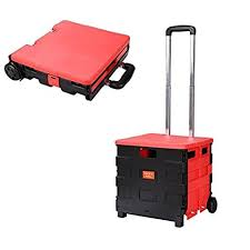 office trolley cart. Folding Trolley Cart With 2 Wheels Folded Collapsible Handcart For Shopping Travel [US Stock] Office T