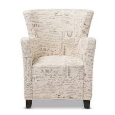 French Ottoman baxton studio benson french script patterned fabric club chair and 2613 by xevi.us