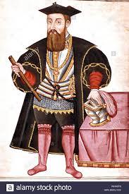 Miniatur Portrait von Vasco da Gama - Vasco Da Gama wurde 1469 in Porto,  Portugal geboren. Als